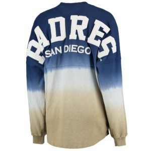 Women's Navy Oversized Long Sleeve Ombre Spirit Jersey T-Shirt
